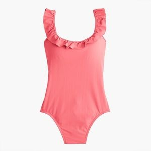 J. Crew Ruffled Scoopback One-Piece Swimsuit Sz 8